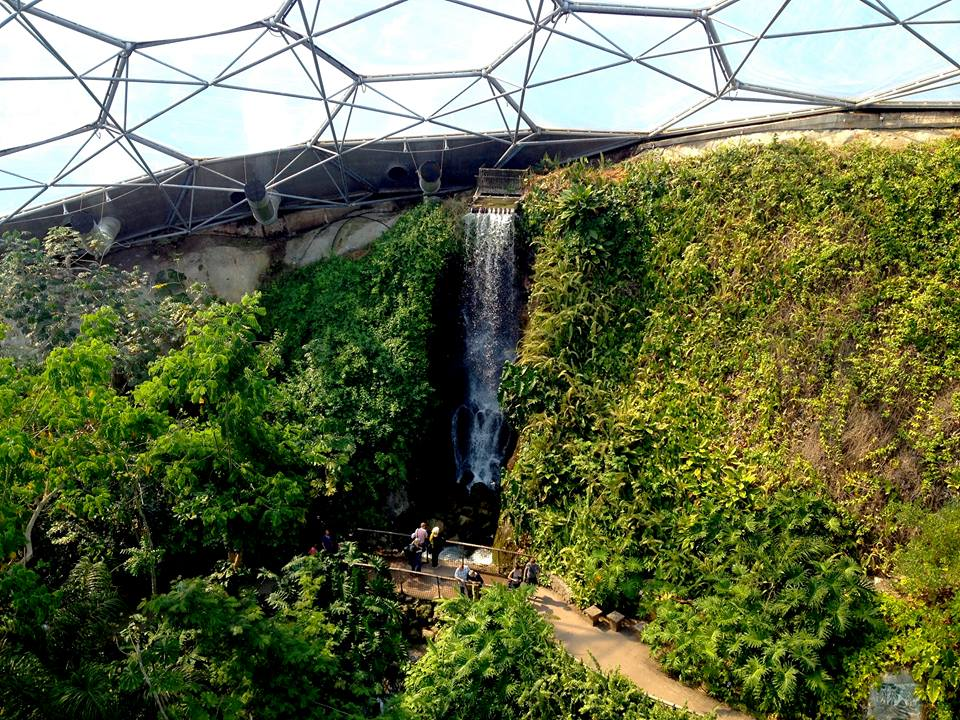 Eden Project rainforest biome waterfall